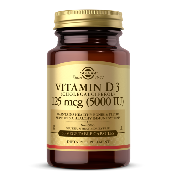 Купить Витамин Д3 SOLGAR Vitamin D3 5000 МЕ вегетарианские капсулы 60 шт.