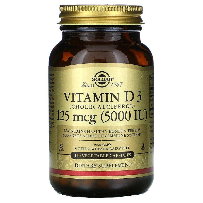 Купить Витамин Д3 SOLGAR Vitamin D3 5000 МЕ вег. капсулы 120 шт.
