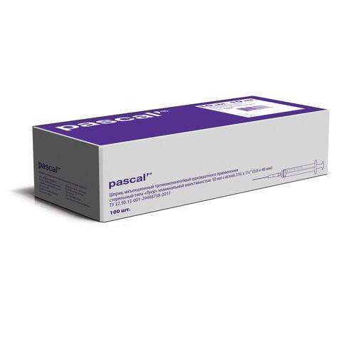 Купить Шприц 3-х компонентный PASCAL 10 мл КОМПЛЕКТ 100 шт. в коробке игла 0, 8х40 21G 120508