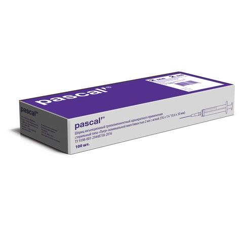 Купить Шприц 3-х компонентный PASCAL 2 мл КОМПЛЕКТ 100 шт. в коробке игла 0, 7х40 22G 120207
