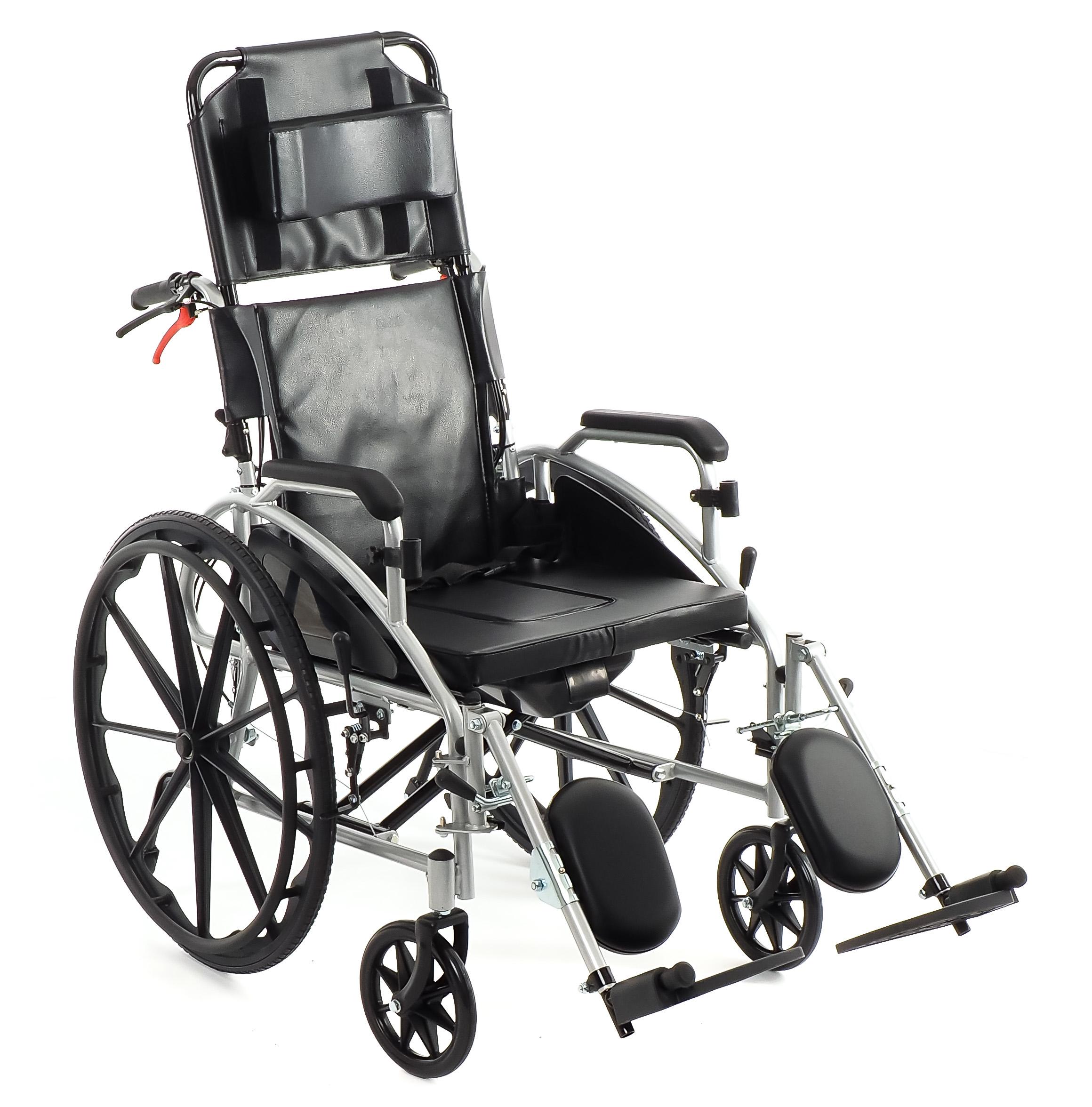 Кресло коляска с откидной спинкой, туалетом, тормозами