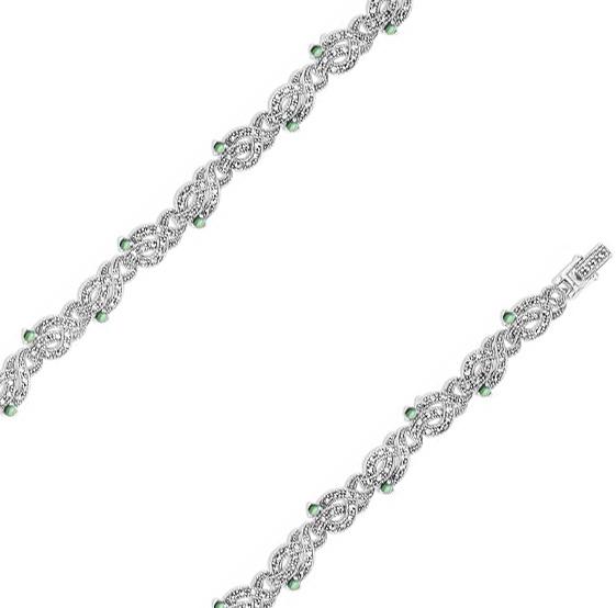 Браслет из серебра с перламутром/марказитом р.19.5 Марказит BR700-perlamutr-abalon-mr