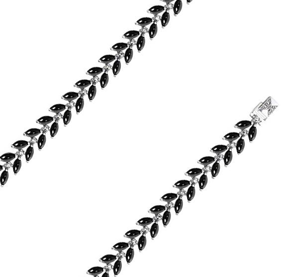 Браслет из серебра с ониксом/марказитом р.17.5 Марказит BR338-oniks-mr