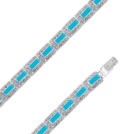 Браслет из серебра с марказитом/бирюзой р.19 Марказит BR284-birjuza-mr