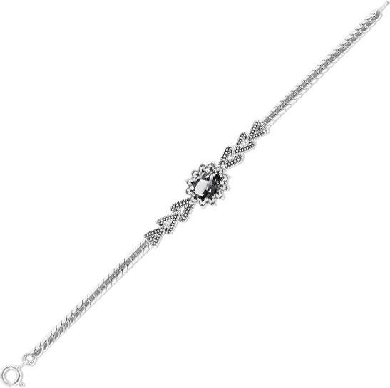 Браслет из серебра с ониксом/марказитом р.17 Марказит BR522-oniks-mr