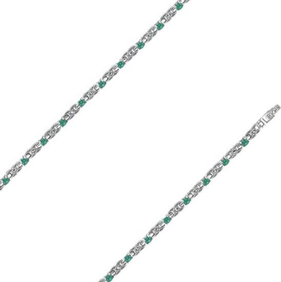 Браслет из серебра с хризопразом/марказитом р.17.5 Марказит BR321-hrizopraz-mr