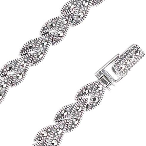 Браслет из серебра с марказитом р.18.5 Марказит BR256-mr