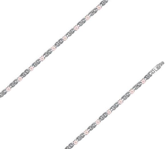 Браслет из серебра с перламутром/марказитом р.18 Марказит BR321-perlamutr-rozovyj-mr