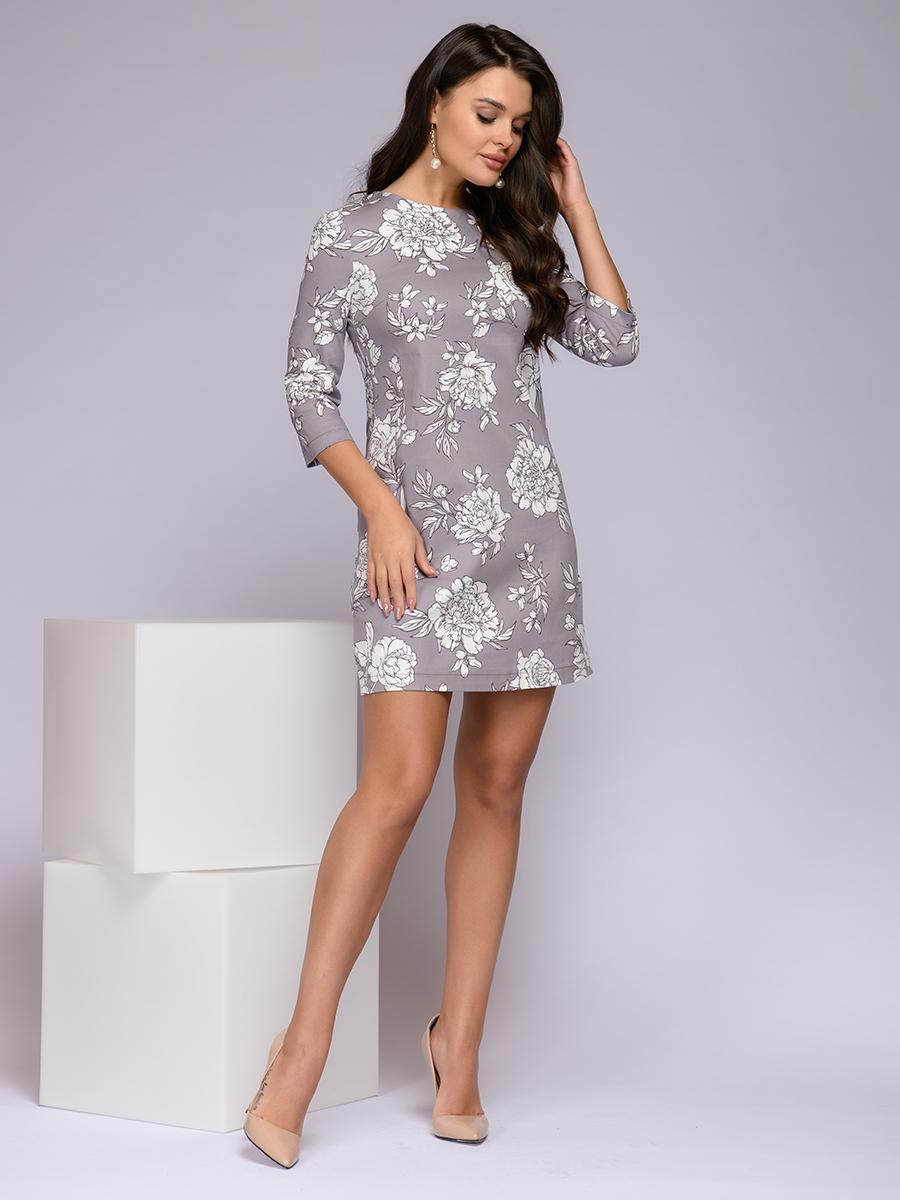 Платье женское 1001dress 0122001-02198GY серое 46