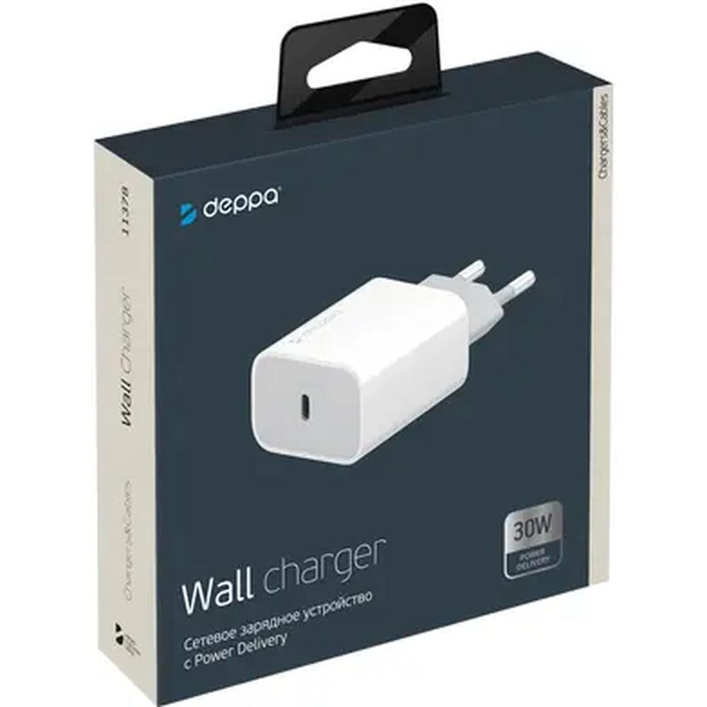 Сетевое зарядное устройство Deppa Power Delivery 30Вт USB Type-C белый (11378), 11378