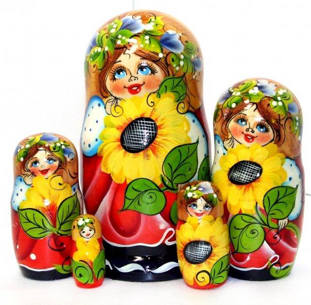 Купить Матрёшка Девочка с подсолнухом (5 мест, 17 см), NoBrand,