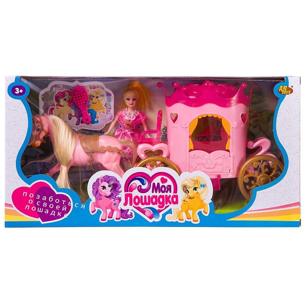 Купить Игровой набор Abtoys Моя лошадка. Карета с лошадкой и куколкой, розовая PT-01461P, JIANGSU HOLLY EVERLASTING INC.,