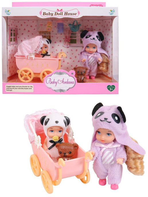 Купить Игровой набор Baby Ardana Дома у сестренок (в спальне с коляской), с аксессуарами A588, JIANGSU HOLLY EVERLASTING INC.,