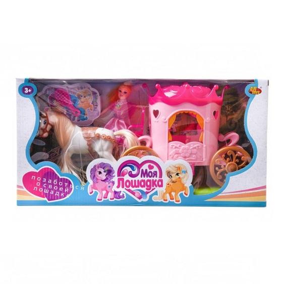 Купить Игровой набор Моя лошадка Карета с лошадкой и куколкой, 2 вида PT-01461, JIANGSU HOLLY EVERLASTING INC.,