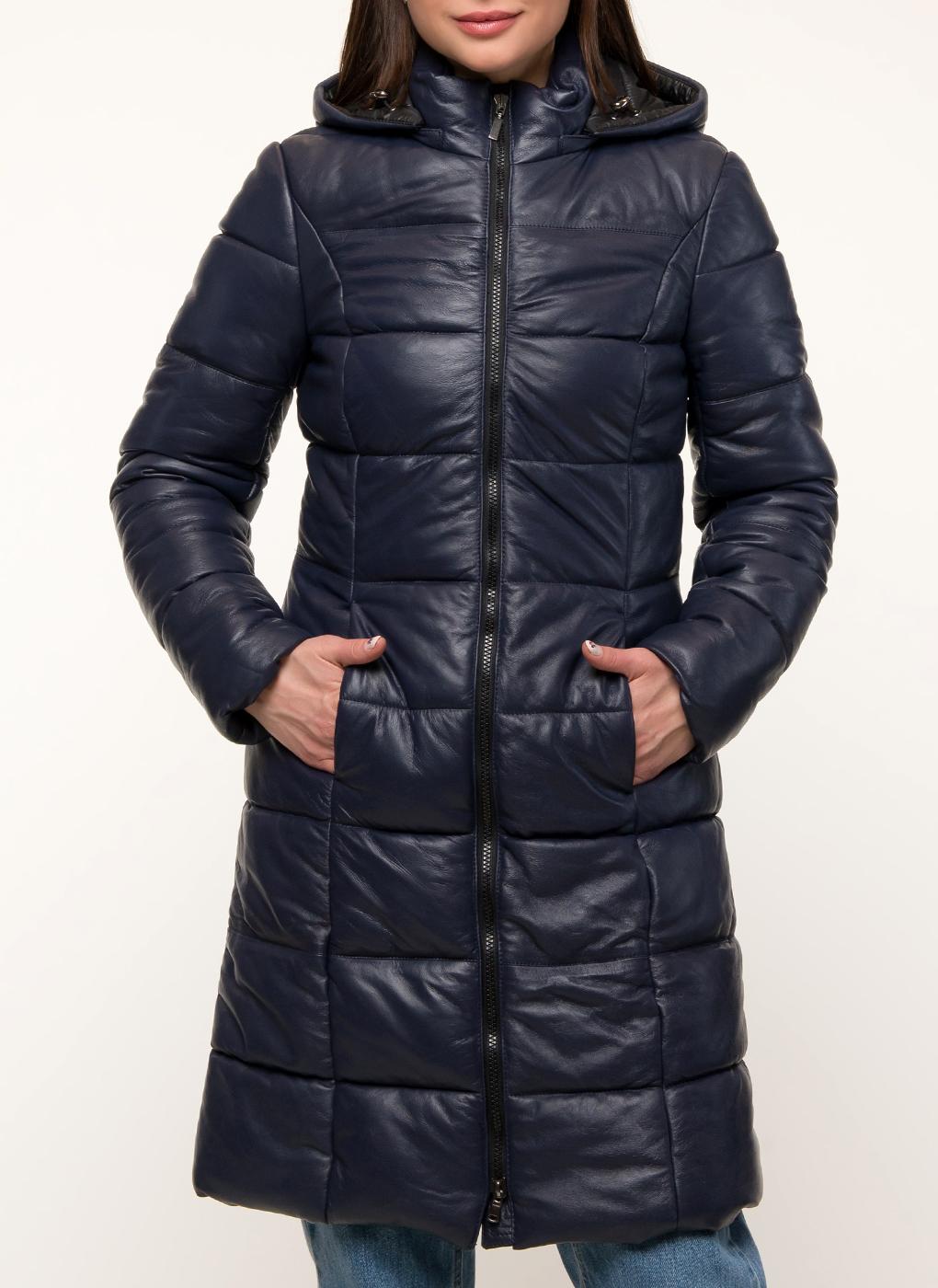 Кожаная куртка женская Каляев 156050 синяя 42