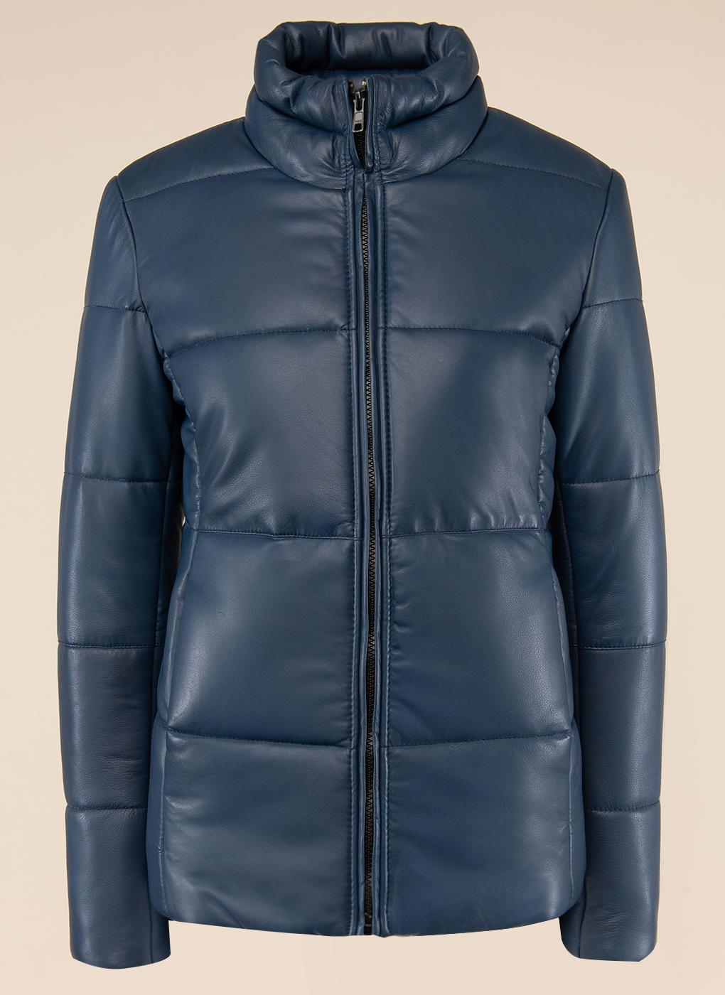 Кожаная куртка женская Каляев 157554 синяя 42