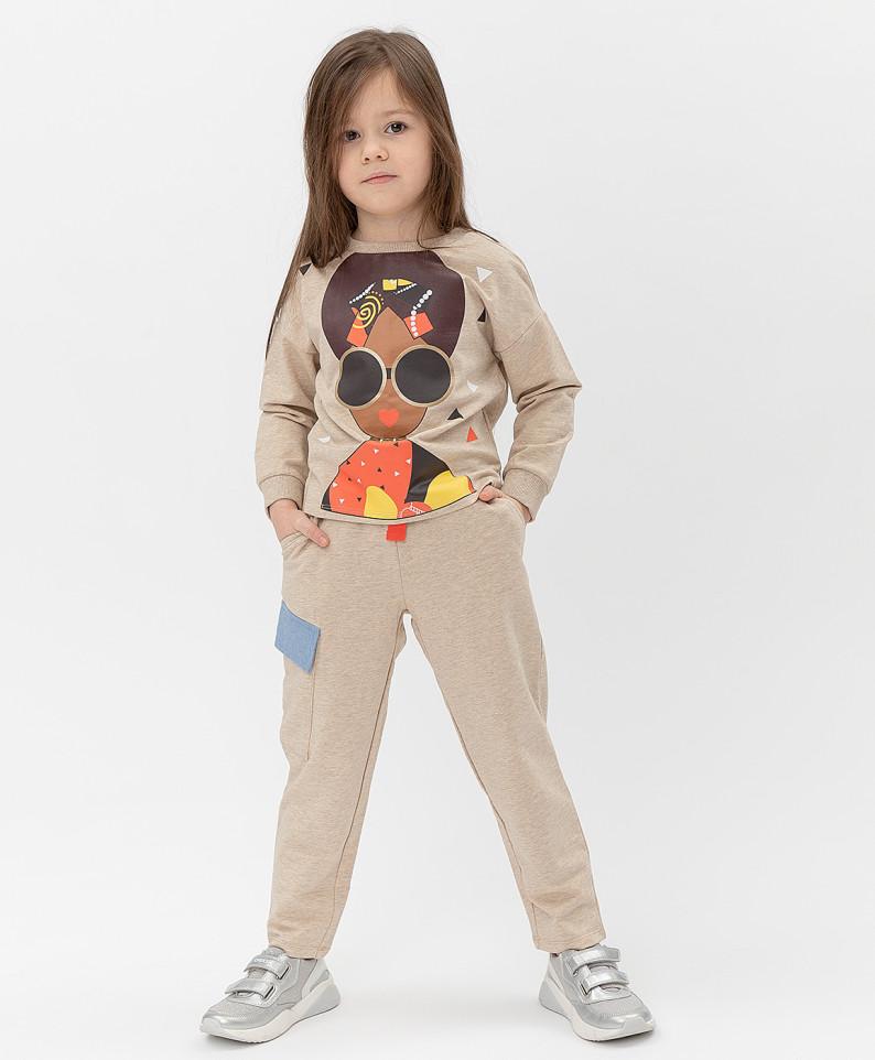 Купить 121BBGMC56052100, Брюки Button Blue для девочек цв. коричневый р-р. 128,