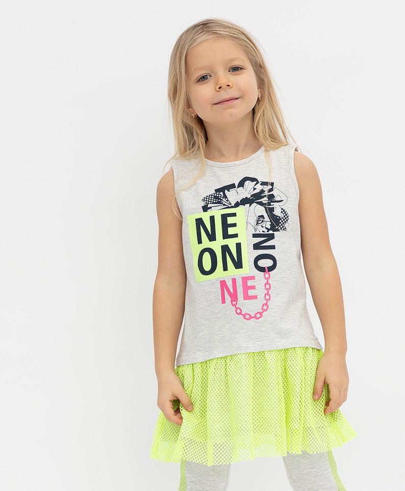 Купить 121BBGMC50061900, Платье Button Blue для девочек цв. серый р-р. 128,