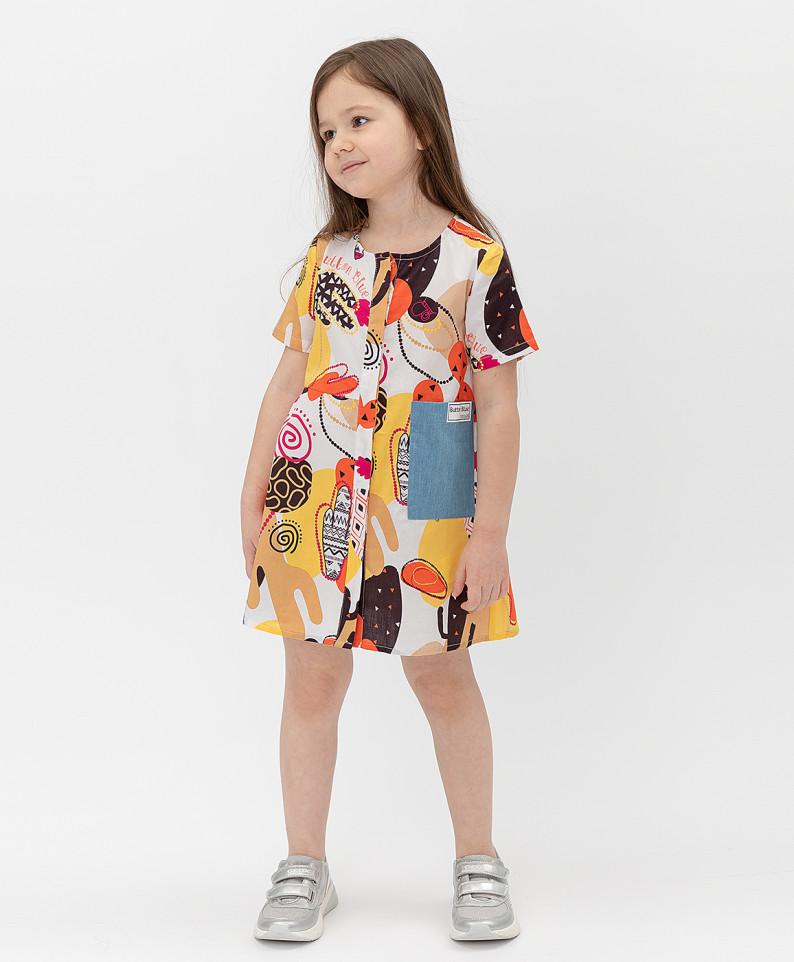 Купить 121BBGMC25050214, Платье Button Blue для девочек цв. белый р-р. 128,