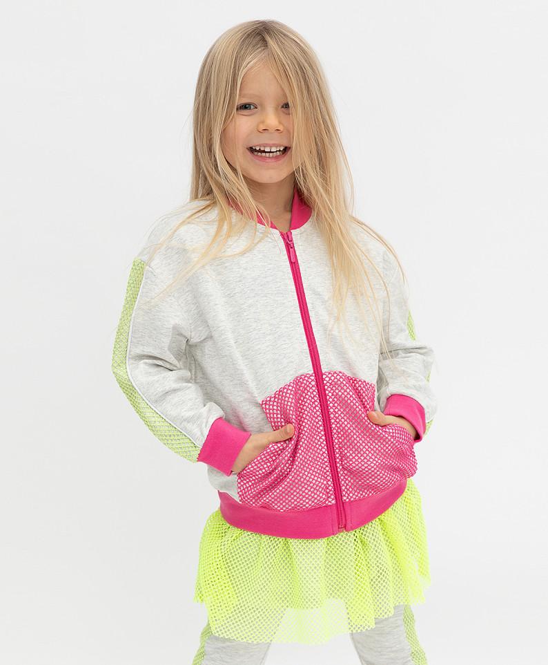 Купить 121BBGMC16091900, Толстовка Button Blue для девочек цв. серый р-р. 128,