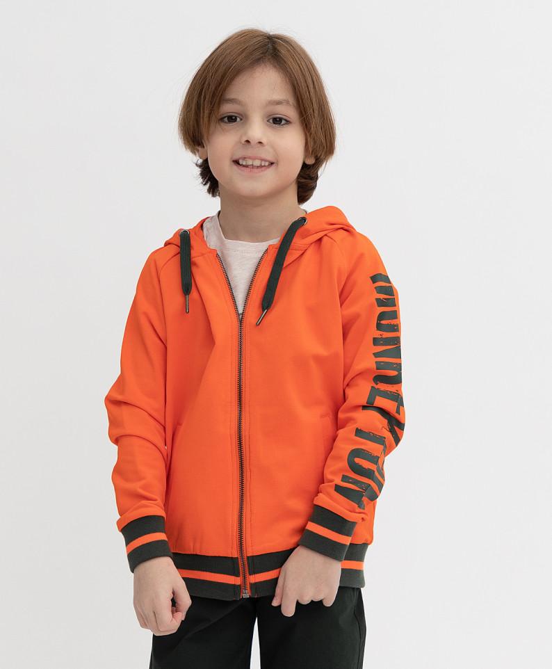 Купить 121BBBMC16043200, Толстовка Button Blue для мальчиков цв. оранжевый р-р. 122,