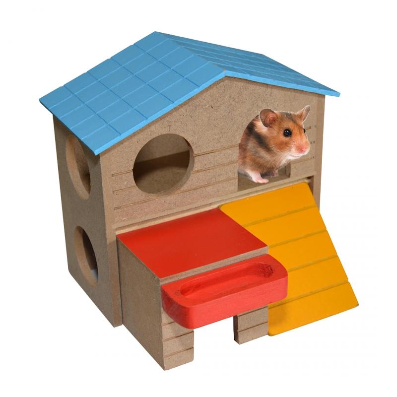 Игрушка для грызунов Duvo+ Двухэтажный домик, дерево,