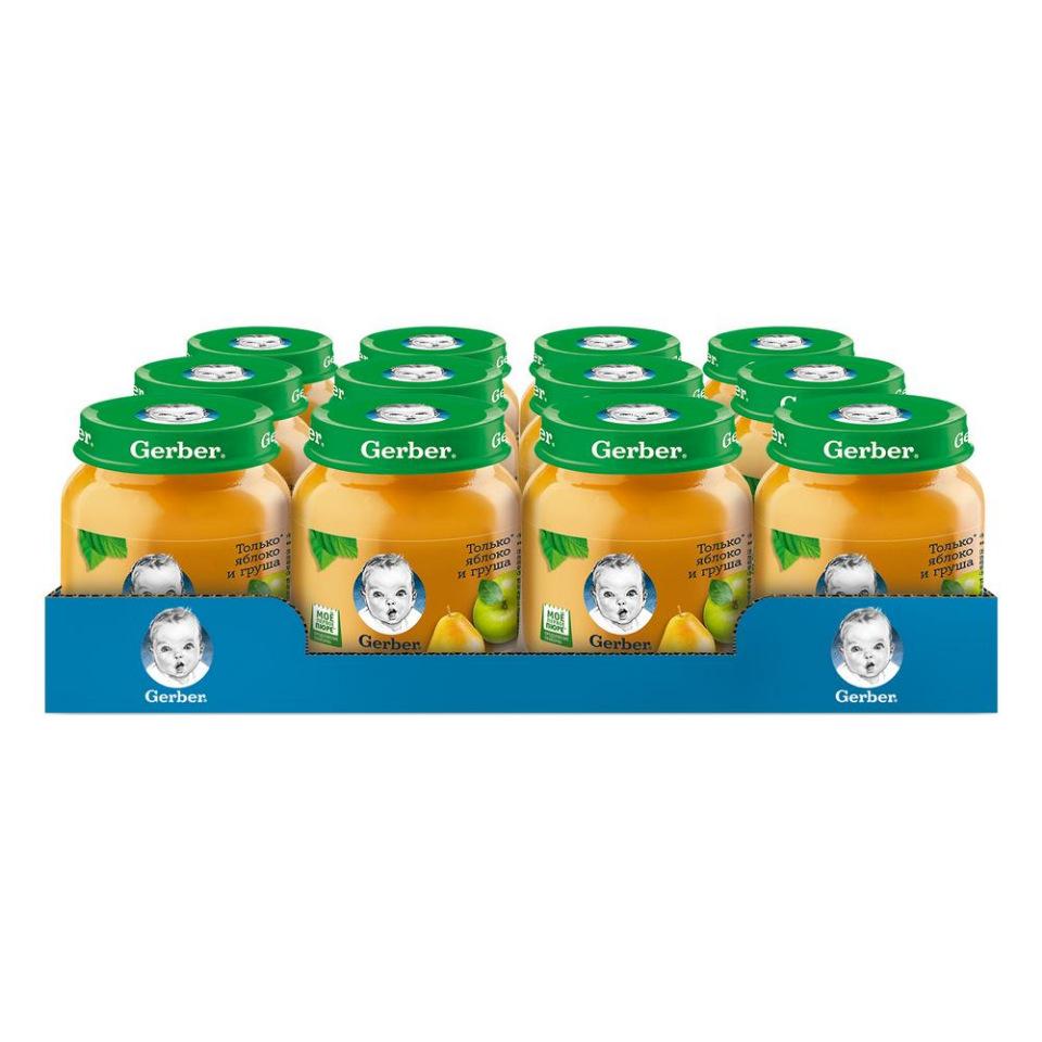 Купить Яблоко и груша, Фруктовое пюре Gerber Только Яблоко и Груша первая ступень, 12 шт. по 130 г,