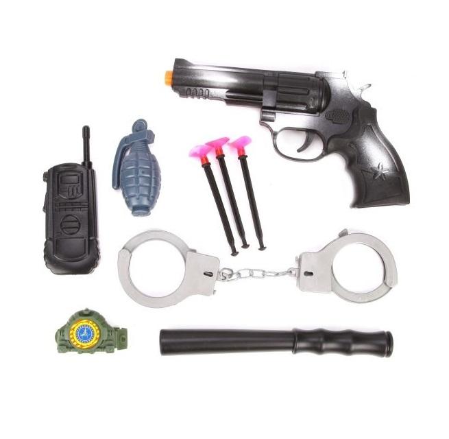 Купить Набор полицейского Наша игрушка пистолет, наручники, ключи, дубинка, рация, граната, часы,