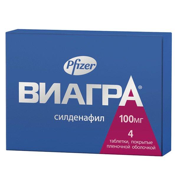 Купить Виагра таблетки, покрытые пленочной оболочкой 100 мг №4, Pfizer