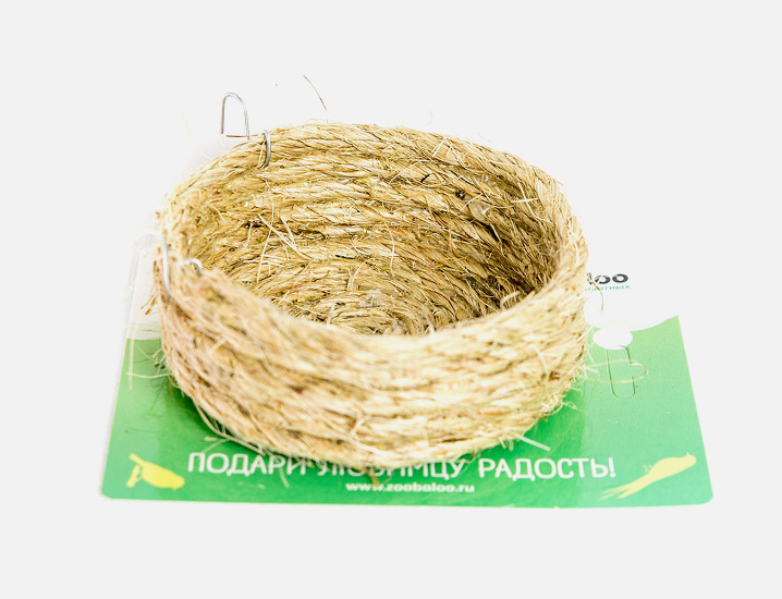 Гнездо для птиц Zoobaloo, плоское из сизали,