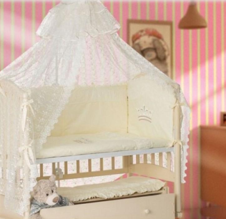 Купить Комплект в кроватку Мой Ангелок Корона фисташковый, 7 предметов,