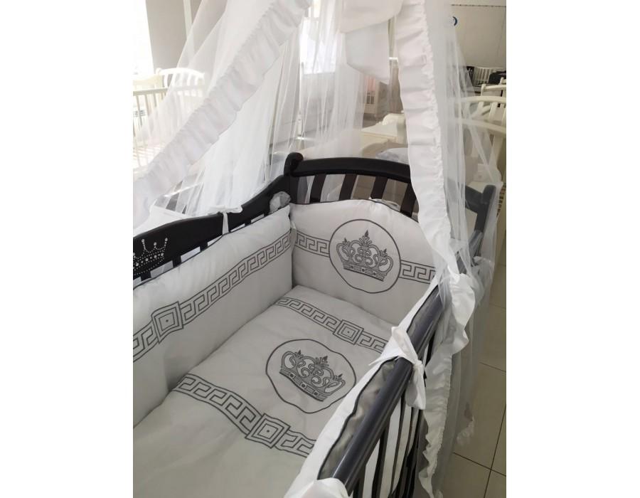 Купить Комплект в кроватку Мой Ангелок Императорский белый/серый, 7 предметов,