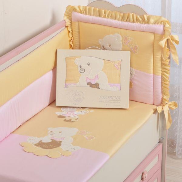 Купить Комплект в кроватку Селена Пасечник розовый, 7 предметов,
