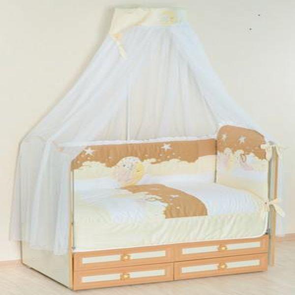 Купить Комплект в кроватку Селена Ночка бежевый, 6 предметов,
