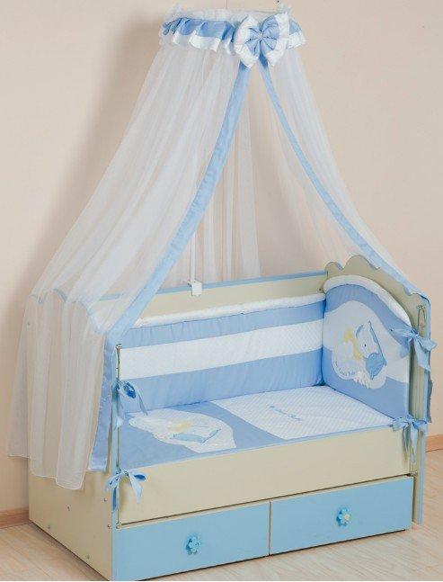 Купить Комплект в кроватку Селена Мой маленький друг голубой, 7 предметов,
