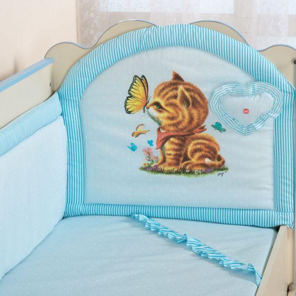 Купить Комплект в кроватку Селена с музыкальной игрушкой голубой,
