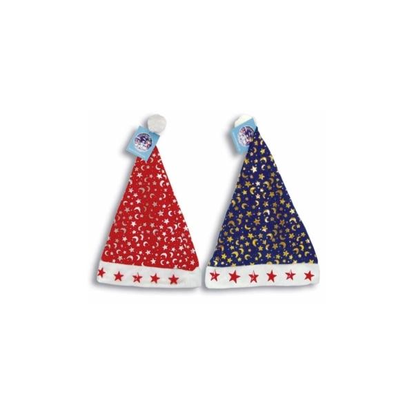 Новогодняя шапка деда мороза Snowmen с мигающими звездами 28 х 30 см