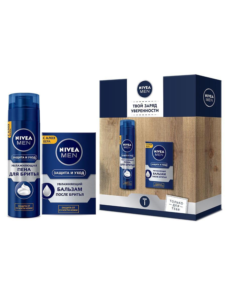 Купить Набор Nivea Защита и уход пена для бритья 200мл+Увлажняющий бальзам после бритья, 100мл