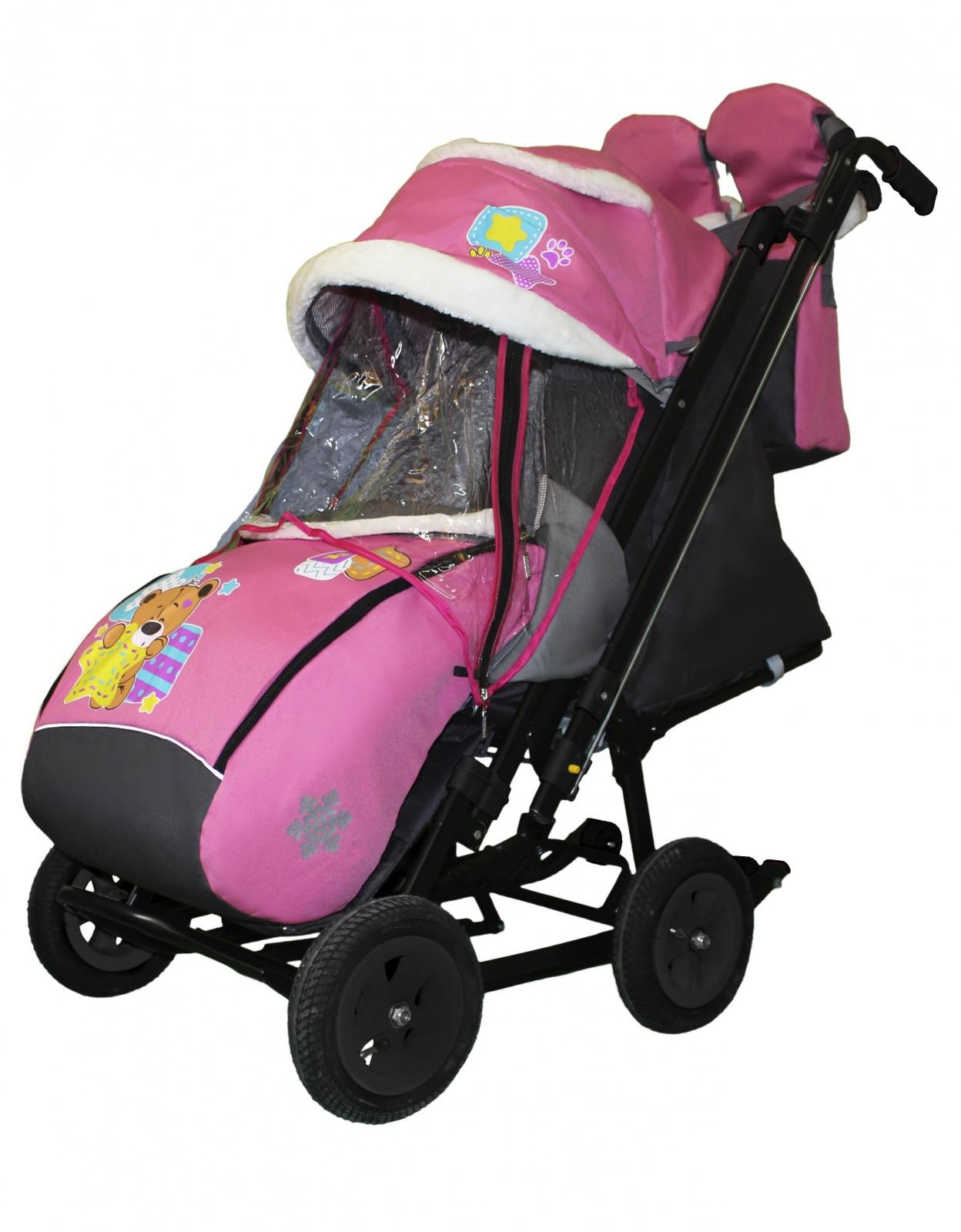 Купить Санки-коляска Galaxy Snow City-2-1 Мишка со звездой на розовом, сумка + варежки,