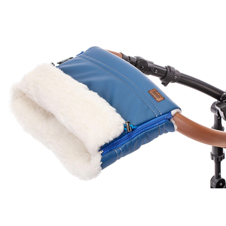 Купить Муфта меховая для коляски Nuovita Alpino Lux Bianco Blu scuro, Темно-синий,