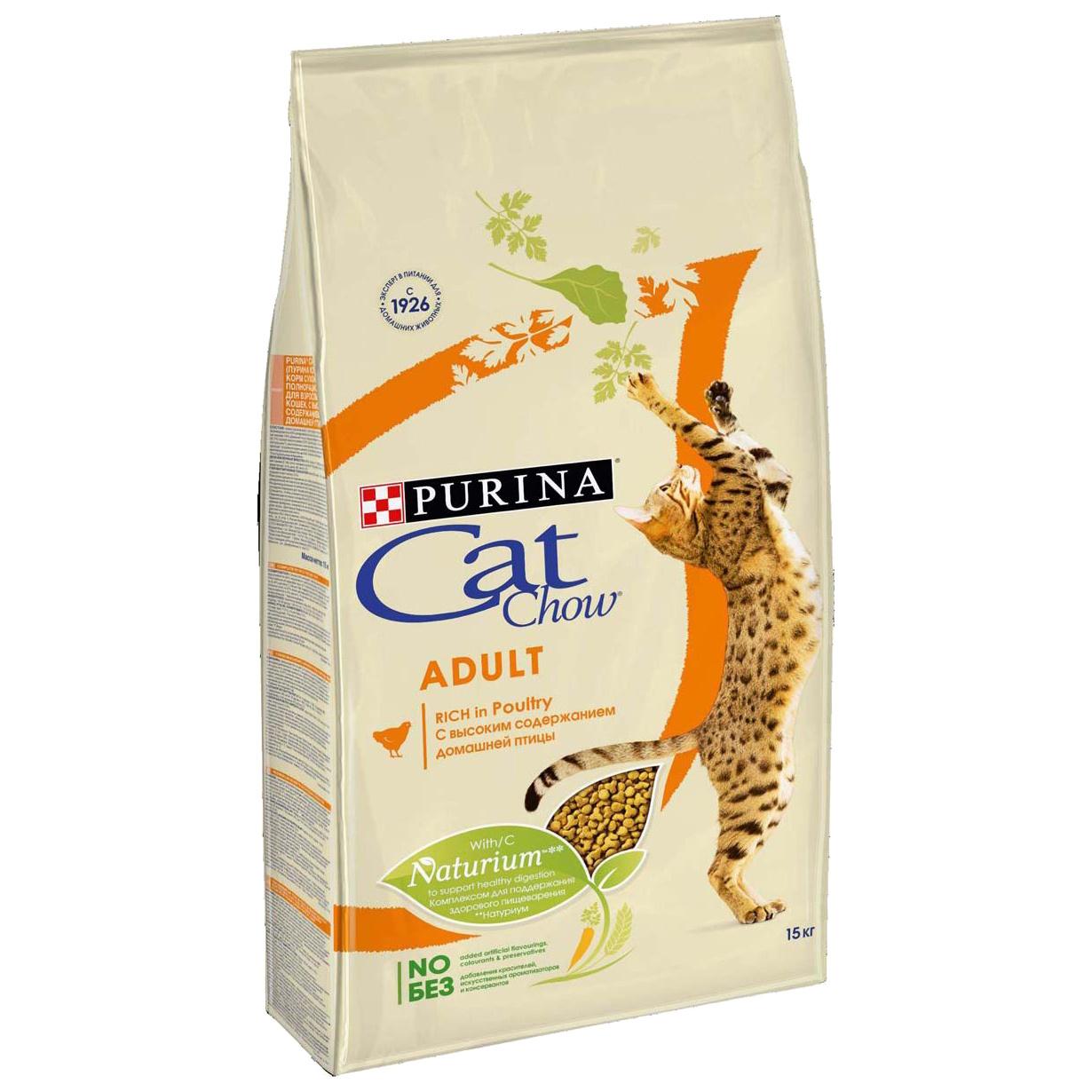 Сухой корм для кошек Cat Chow Adult, домашняя птица, 15кг фото