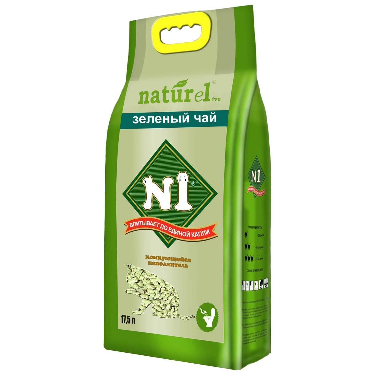 Комкующийся наполнитель №1 Naturel древесный, Зеленый чай,