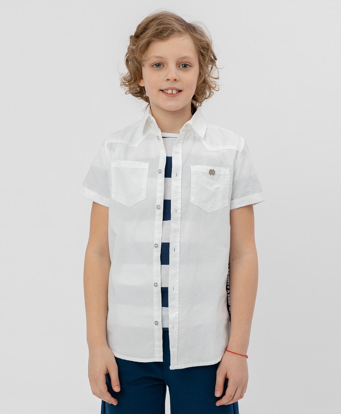 Купить 120BBBC23020200, Рубашка для мальчиков Button Blue, цв. белый, р-р 104,