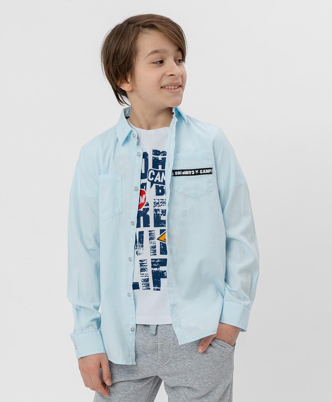 Рубашка для мальчиков Button Blue, цв. голубой, р-р 98
