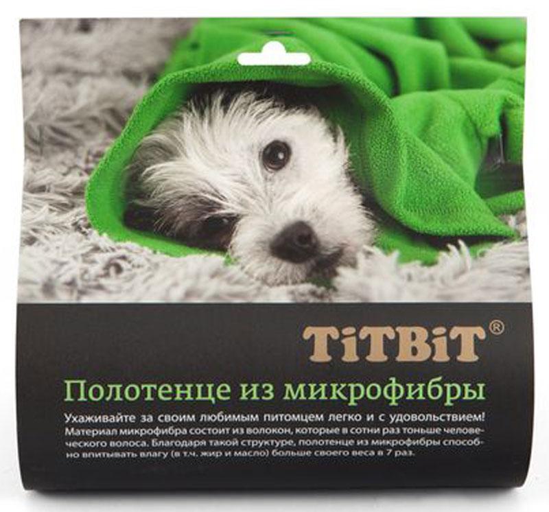 Полотенце для животных TiTBiT, микрофибра, зеленое,