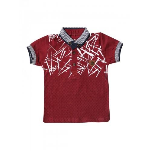 Футболка-поло для мальчиков Petitox, цв. бордовый, р-р 92