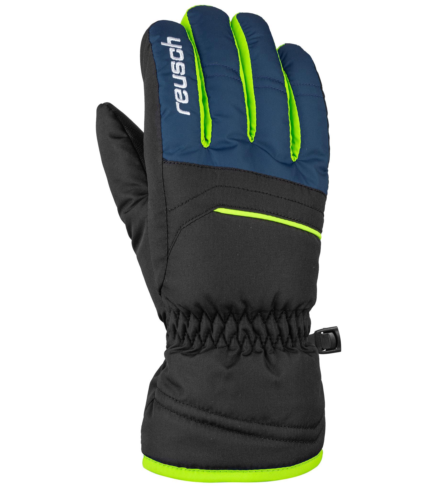 Перчатки Reusch Alan, black/dress blue/neon green, 6.5 Inch