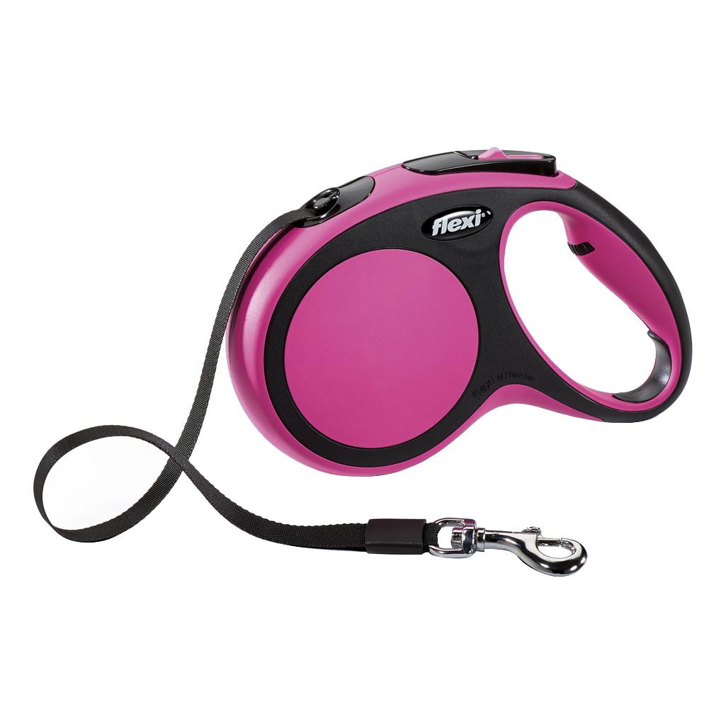 Рулетка-поводок FLEXI New Comfort M до 25кг лента, 5м, черный, розовый