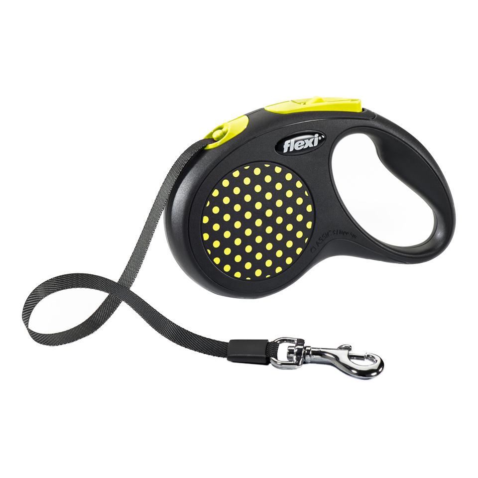 Рулетка-поводок FLEXI Design S до 15кг лента, 5м, черная, желтый