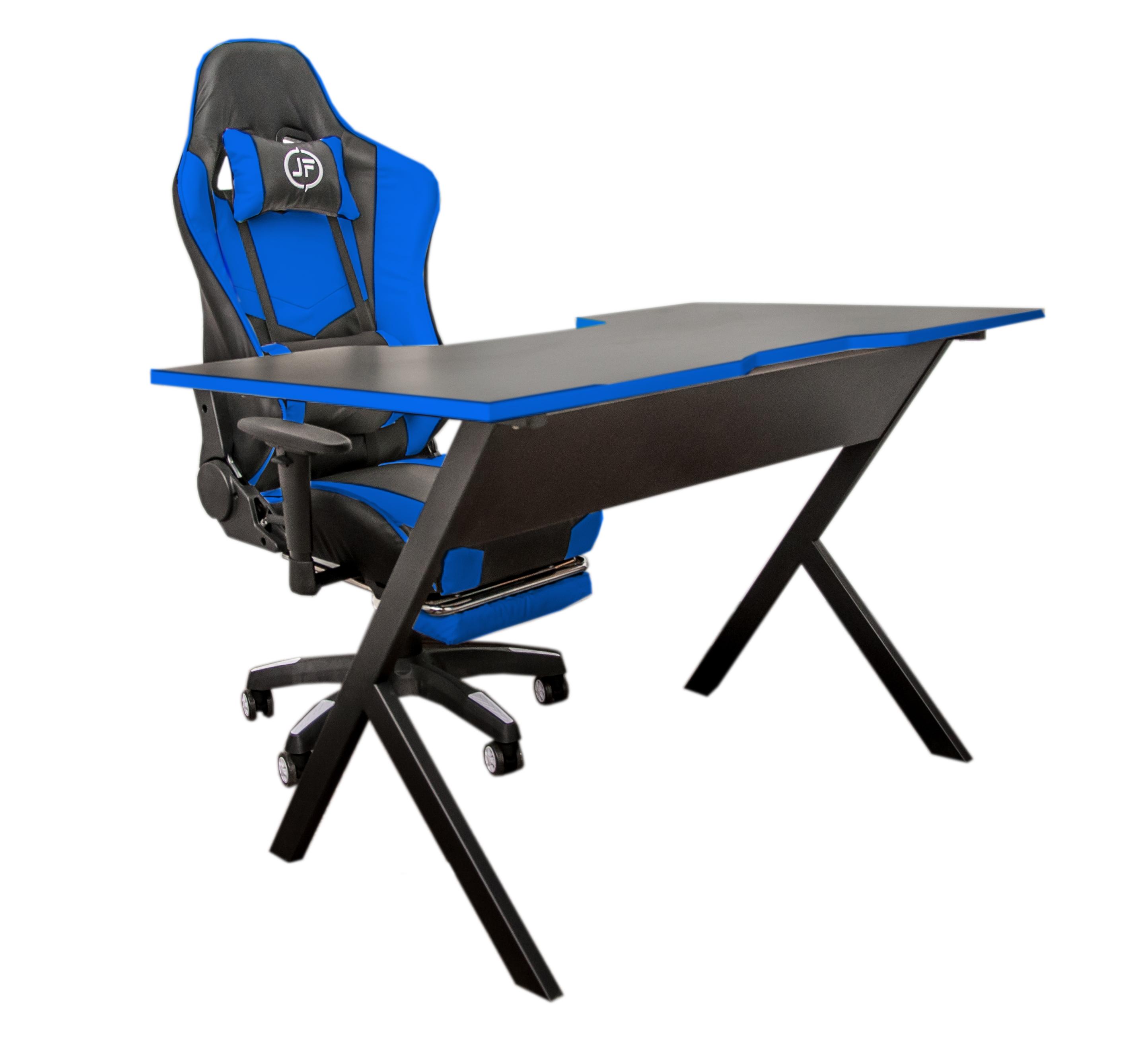 Компьютерный игровой стол JetFire чёрно синий
